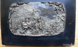 ANTIK EZÜSTÖZÖTT RÉZ RELIEF - XVII-XVIII.sz.-i VIDÁM KATONA