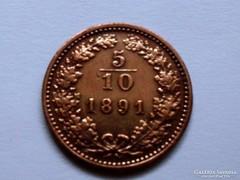 5/10 KRAJCÁR-F.J. 1891-VELENCE!!! -aUNC! ÍGY  RITKA!!!