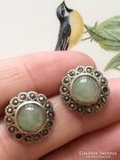 Csodálatos  antik ezüst zöld köves fülbevaló