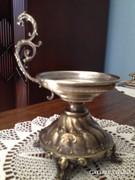 Réz-ezüst hordozható gyertyatartó - csikóhal fogóval