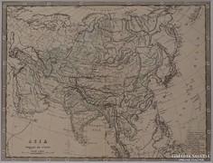 0L348 Antik acélmetszet térkép ÁZSIA
