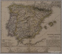 0L342 Antik acélmetszet térkép SPANYOLORSZÁG