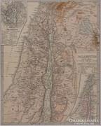 0L359 Antik acélmetszet térkép PALESTINA