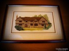 AKCIÓ!!! Gobelin goblein házikó kép üvegezett fa keretben
