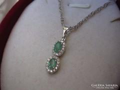 RITKASÁG! Valódi tiszta SMARAGD 925 ezüst medál és nyaklánc