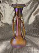 Csodálatos fújt szecessziós irizáló LOETZ jellegű váza