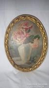 Régi Üveg festmény rózsa csendélet ovális arany fa keret