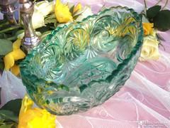 Öntött üveg türkizzöld tál