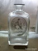 Antik  csiszolt üveg vadászjelenettel  1850 .es évekből