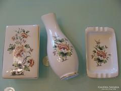 Hollóháza bonbonier hamutál váza készlet