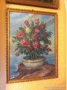 Kiss Kálmán (1878-1967) Virágcsendélet. Olaj, vászon-karton