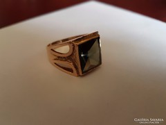 14K arany art deco pecsétgyűrű füstkvarccal