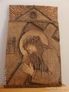 Faragott falikép - Krisztus kereszttel
