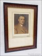Antik  fa képkeret  fotóval ,  falc 27,5 x 39,5  cm.