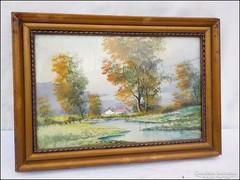 Folyóparti tájkép  - hangulatos akvarell
