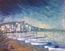 - Hajnali kikötő -  olajfestmény