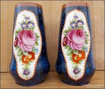 Eichwald rózsás festett porcelán váza pár
