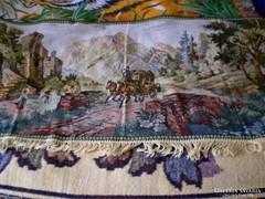 Antik, tájképes falvédő szőnyeg, faliszőnyeg 164 x 68 cm