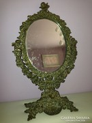 Századfordulós antik Cupidós, angyalos réz asztali tükör