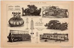 Szövőipar I. fonás és II. szövés, eredeti nyomat 1892
