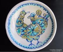 Pávás fehér kerámia fali tányér, tál RETRO