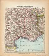 Dél - Kelet Franciaország térkép 1929, magyar nyelvű, régi