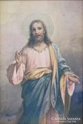 0L129 Arany kereteben Jézus kép 27.5 x 19 cm