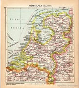 Németalföld (Hollandia) térkép 1929, magyar nyelvű, régi