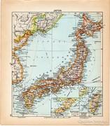 Japán térkép 1929, magyar nyelvű, régi