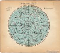 Az északi csillagos ég, térkép 1929, magyar nyelvű, régi