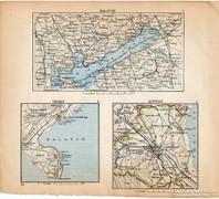 Mini térképek 1929, Balaton, Tihany, Sopron térkép