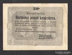 Harmincz pengő krajczárra 1849. Elcsúszott nyomat!!!