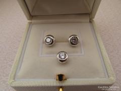 Ezüst button szett - stekker fülbevaló + csúszó medál