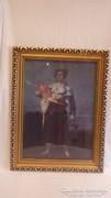 Üvegezett arany - fa képkeret falc 54x39 cm