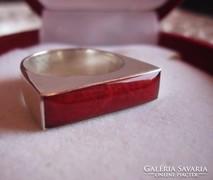Posztmodern - vörös korall és ezüst gyűrű