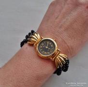 Szép régi Rococo onix szíjas női óra