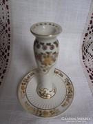 Zsolnay dúsan festett és aranyozott gyertyatartó