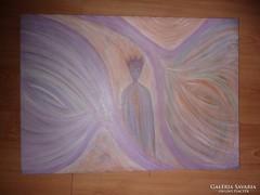 Nőalak lila koronával palástban, olaj-vászon, j.n.