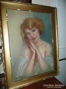 Szilvitzky Krisztina /1880-?/gyönyörű, nagy pasztel festmény