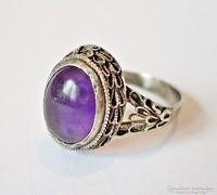 Lila ásvány köves ezüst gyűrű