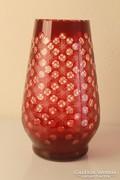 Art Deco bíborpácolt kristály váza
