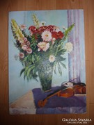 Virágcsendélet  hegedűvel, olaj-karton jelzett