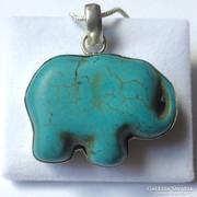 Hatalmas türkiz elefánt medál