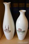 Szeged és Balatonfüred hollóházi porcelán váza pár