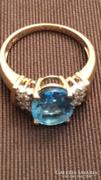 Arany gyűrű topázzal+ brillel