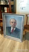 Óriási méretű eredeti olaj-vászon LENIN festmény