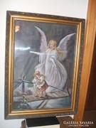 Angyalkás festmény (vászonra) gyönyörű keretben