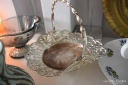 Ezüst színű bécsi fém bonbon kosárka
