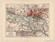 Hamburg és környéke térkép 1892, eredeti, német, régi