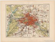 Berlin és környéke térkép 1892, eredeti, német, régi